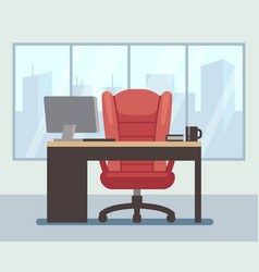 Modern boss room with big window and laptop on vector