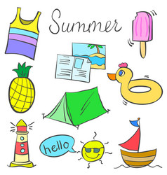 object colorful summer doodles style vector image