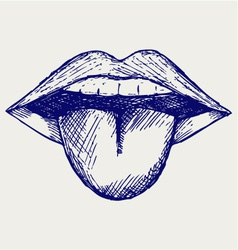Open mouth tooth and tongue vector image