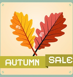 Retro Autumn Sale Background With Oak Leaves vector image vector image