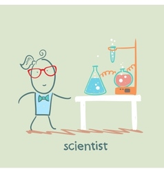 scientist with test tubes on the table vector image