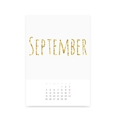 September 2017 Calendar Page vector image vector image