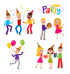 Set of friends having fun at birthday party vector