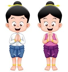 Thai kidssawasdee vector