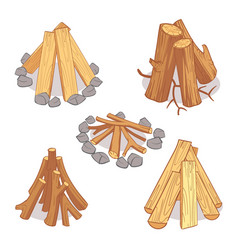 wood stacks and hardwood firewood wooden logs vector image