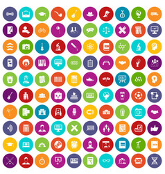 100 student icons set color vector