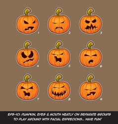 Jack o lantern cartoon 9 angry expressions set vector