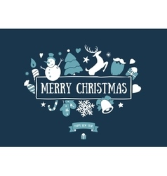 Merry christmas decoration and card design happy vector