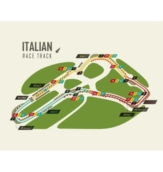 Italian grand prix monza race track for formula 1 vector