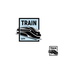 Isolated abstract black color train in blue square vector