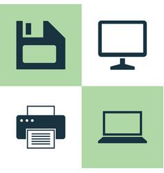 Laptop icons set collection of laptop desktop vector