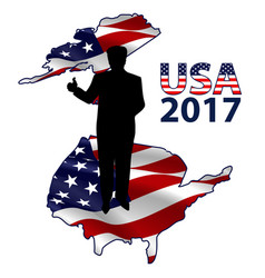 The silhouette of the president on the usa map vector