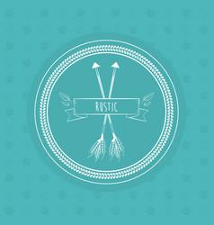 rustic card arrows ribbon floral decoration boho vector image