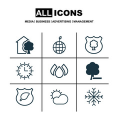 Set of 9 eco-friendly icons includes house snow vector
