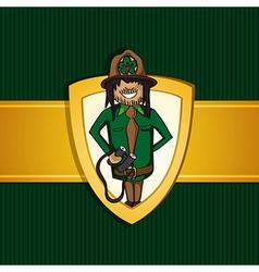 Service park ranger man cartoon shield symbol vector image