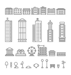 Black thin line city elements vector