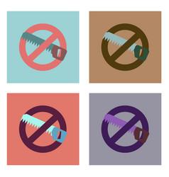 flat icon design collection no saws vector image
