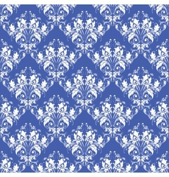 Damask seamless on blue background vector