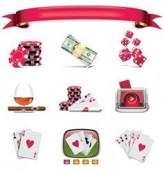 Gambling icons vector