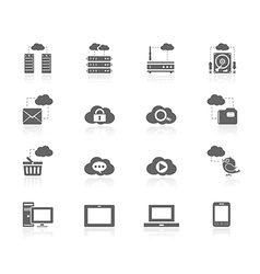 Black icons - cloud computing vector