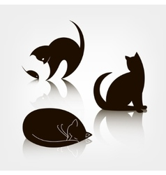 Set of black silhouette cat icons logo vector