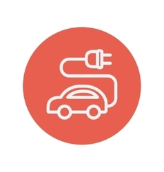 Electric car thin line icon vector