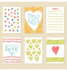 Romantic hand drawn card set collection of vector