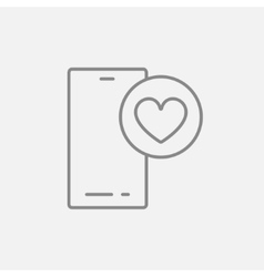 Smartphone with heart sign line icon vector