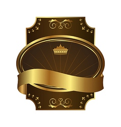 Golden royal label on black background with corner vector