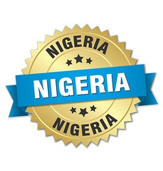 Nigeria round golden badge with blue ribbon vector
