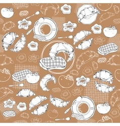Coffee and pastry seamless pattern vector