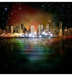 abstract night stars background with panorama of vector image vector image