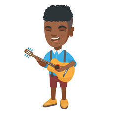 african boy singing and playing acoustic guitar vector image