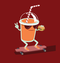 Beverage character skating vector