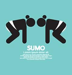 Black symbol graphic sumo fighting vector