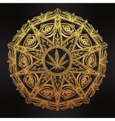 Cannabis trip eye mandala symbol vector
