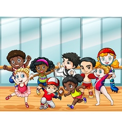Children in different sport costumes vector
