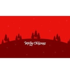 Christmas landscape on red backgrounds silhouettes vector