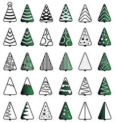 christmas tree icon set vector image vector image