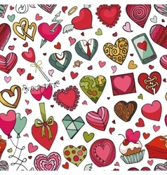 Hearts hand drawing doodleseamless patternColored vector image