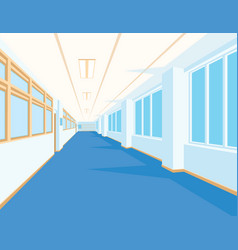 interior of school hall with blue floor windows vector image