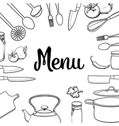 Kitchenware and cutlery menu design isolated vector