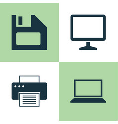 laptop icons set collection of laptop desktop vector image