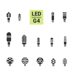Led light g4 bulbs silhouette icon set vector