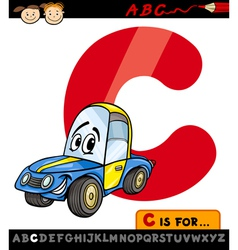 letter c with car cartoon vector image vector image