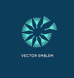 Logo design template in linear style - dandelion vector