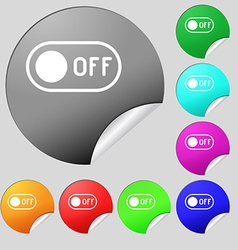 Off icon sign set of eight multi colored round vector