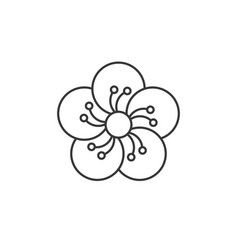 Oriental blossom outline icon vector