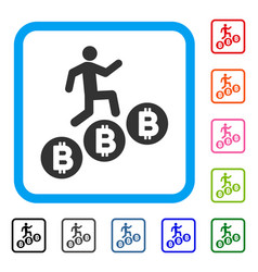 person climb bitcoins framed icon vector image