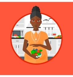 Pregnant woman with vegetables and fruits vector
